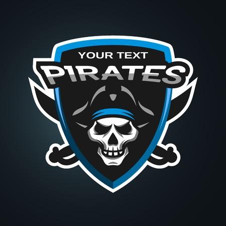 skull logo: Pirate Skull and crossed sabers sea pirate theme badge, logo, emblem on a dark background. Illustration
