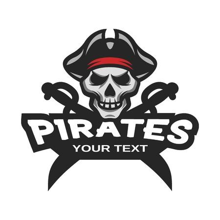 skull logo: Pirate Skull and crossed sabers badge logo emblem.