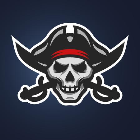 海賊頭蓋骨と交差した剣のシンボル、暗い背景上のロゴ。