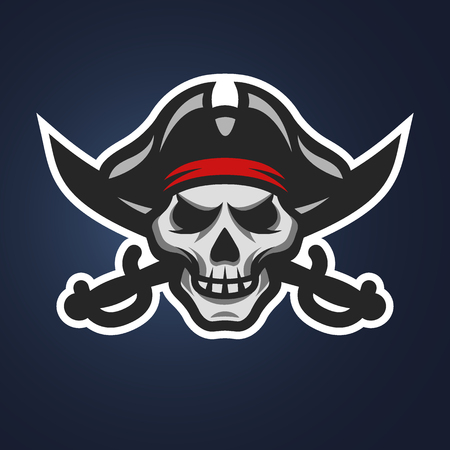 Pirate skull and crossed swords symbol, logo, on a dark background.