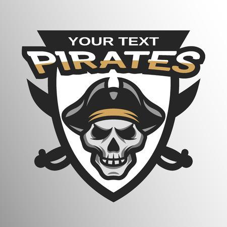 pirata: Cráneo del pirata y sables cruzados pirata del mar insignia tema, logotipo, emblema.