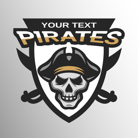 Pirate Skull and crossed sabers sea pirate theme badge, logo, emblem.