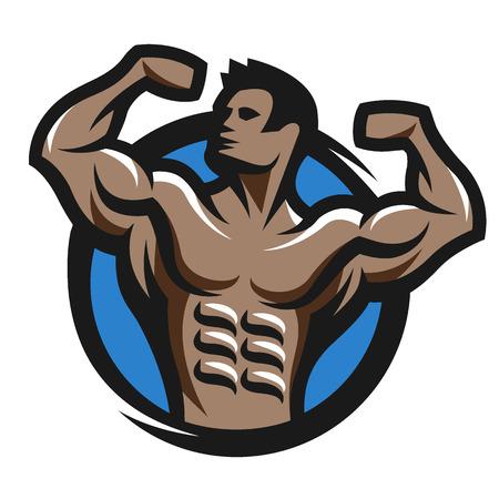 pose: Posing bodybuilder simbol logo emblem. Vector illustration.
