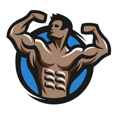 Posing bodybuilder simbol logo emblem. Vector illustration.