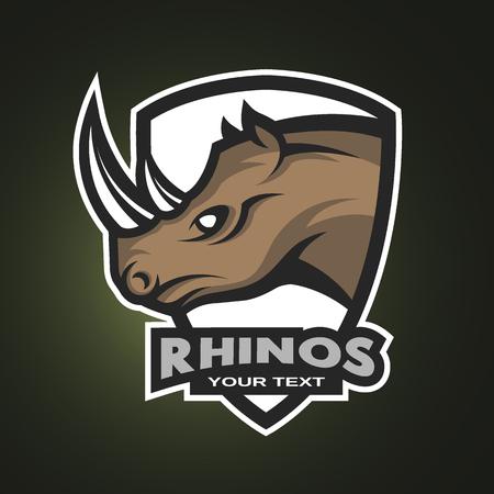 team sports: Rhino logotipo del símbolo o emblema deportivo. Ilustración del vector.