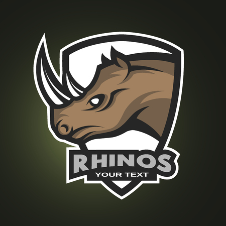 Rhino symbol logo or sports emblem. Vector illustration.