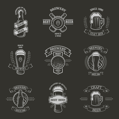 Set brewing emblems, labels in vintage style.