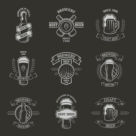 barley malt: Set brewing emblems, labels in vintage style.