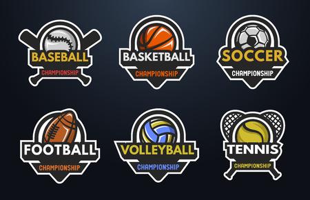 baseball: Conjunto de logotipos deportivos Béisbol Baloncesto Fútbol Voleibol Tenis sobre un fondo oscuro.