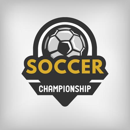 league: Soccer sports logo label emblem. Vector illustration.