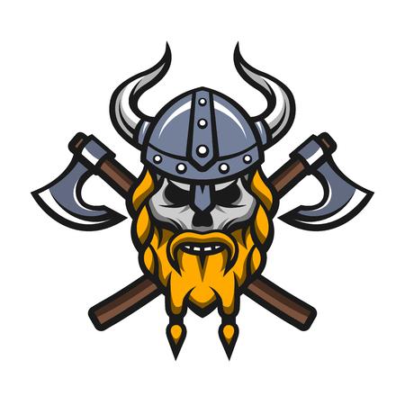 vikingo: Guerrero Vikingo cráneo y ejes insignia, logotipo. Vectores