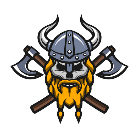 cartoon axe: Viking warrior skull and axes badge, logo.