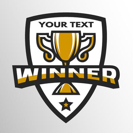sports winner: Winner Sports trophy emblem badge. Vector illustration.