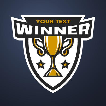 sports winner: Winner Sports trophy logo emblem badge. Vector illustration.
