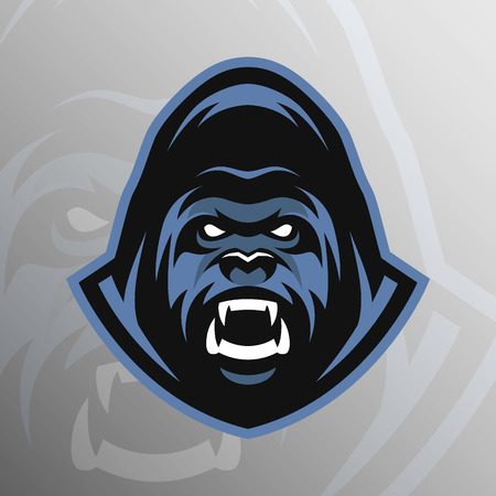 animal mascot: Angry Gorilla symbol emblem sport logo. Vector illustration. Illustration