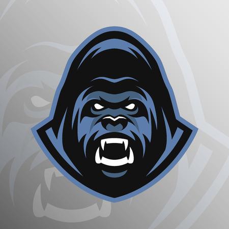 El logotipo del deporte símbolo emblema del gorila enojado. Ilustración del vector. Logos