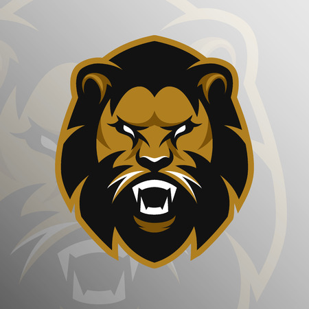 Angry Lion symbol emblem sport logo. Vector illustration.