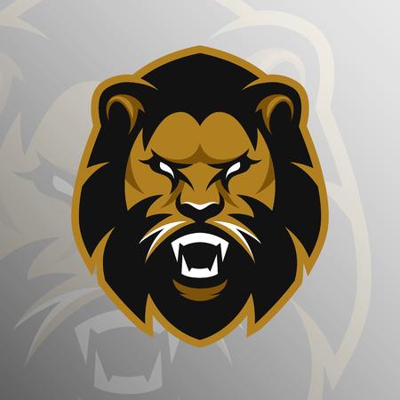 leones: El logotipo del deporte emblema símbolo del león enojado. Ilustración del vector. Vectores