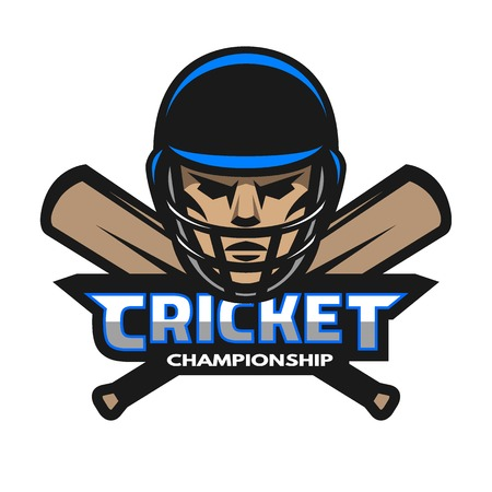 cricket: Cricket player and bats. Sport emblem logo.