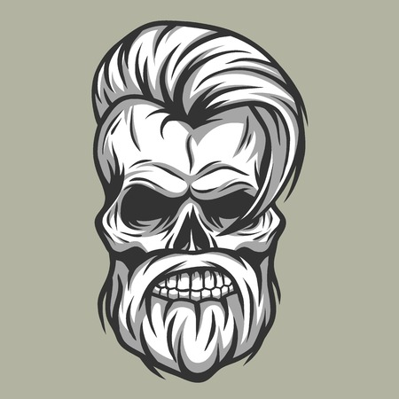 Charismatic skull hipster Vintage style Vector illustration. Illustration