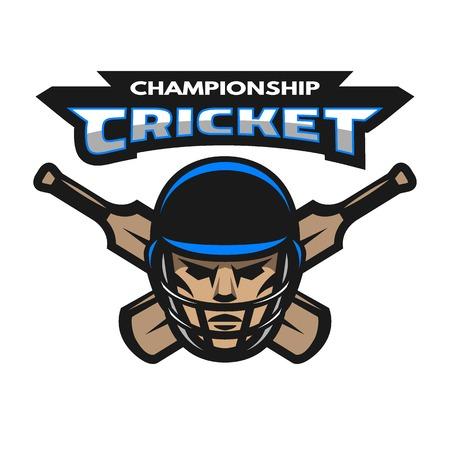cricketer: Cricket player and bats. Sport emblem badge.