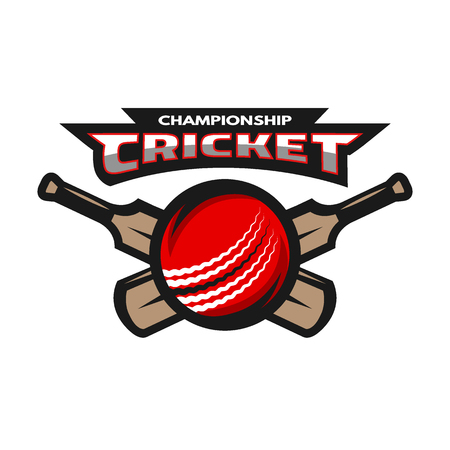 throwing ball: Cricket sports label, badge, emblem The ball and bat.