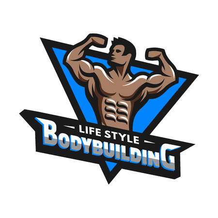 bodybuilding: Posing bodybuilder logo badge emblem. Vector illustration. Illustration