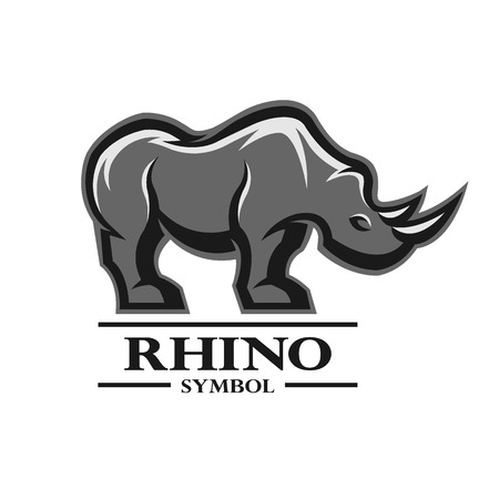 creative strength: Rhino for the symbol, logo, labels, and other design. Artistic silhouette of wild animals. Illustration