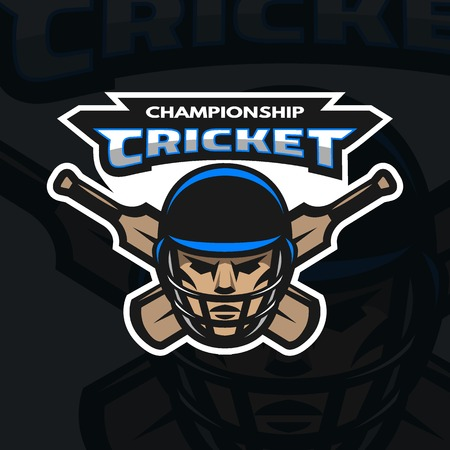cricketer: Cricket player and bats Sport emblem logo. Dark background.