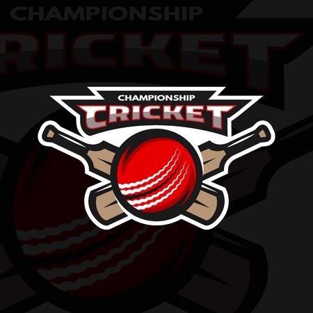 cricket stump: Cricket sports label, badge, emblem The ball and bat. Dark background.