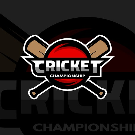 winning pitch: Cricket sports label badge emblem. The ball and bat. Dark background. Illustration
