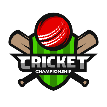 cricket ball: Cricket sports logo, label, badge, emblem. The ball and bats on the background of the shield.