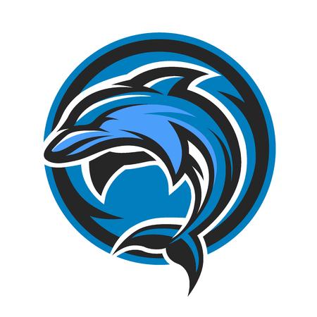 Dolphin sport logo symbol emblem. Vector illustration.