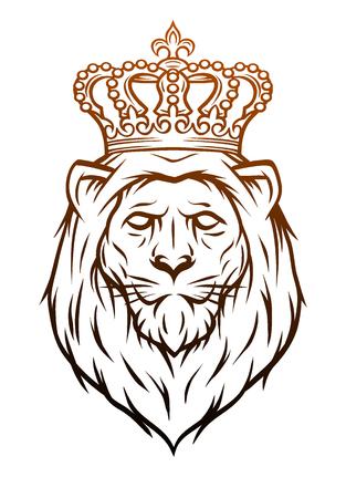 King lion heraldic symbol Hand drawn Vector illustration.