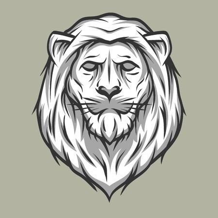 distinguished: Lion head symbol Vintage style Vector illustration.