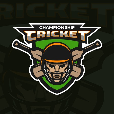 cricket game: Cricket player beats, on the background of the shield. Dark background. Illustration