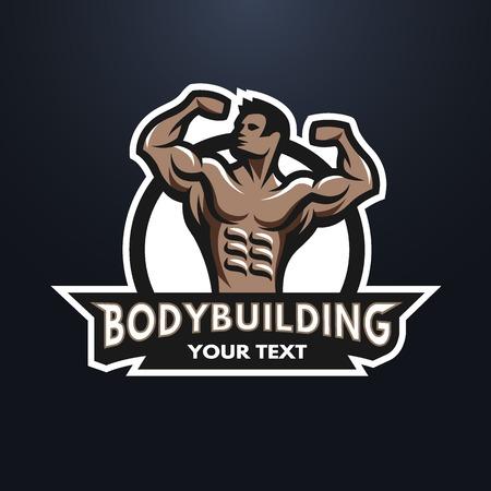 Posing bodybuilder badge emblem. Against a dark background. Illustration