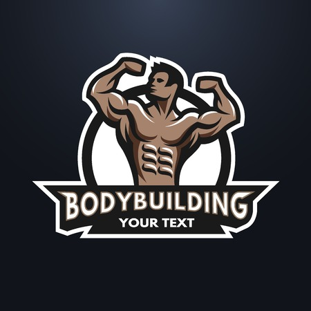 builder: Posing bodybuilder badge emblem. Against a dark background. Illustration