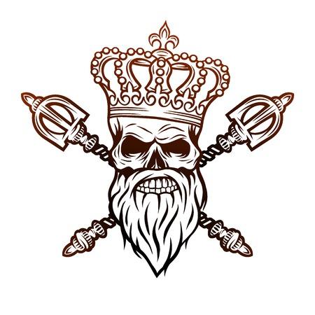 Schädel-Krone und königliche Zepter. Line art style. Standard-Bild - 50152262