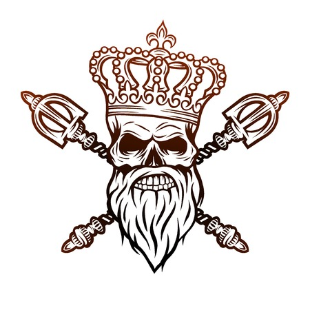 Skull crown and royal scepter. Line art style.