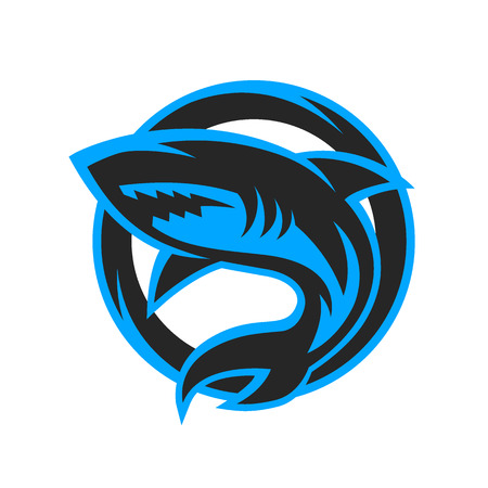 Shark sport logo symbol emblem. Vector illustration. Çizim