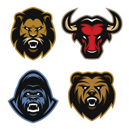The heads of animals set Lion bull gorilla bear. Vector illustration.