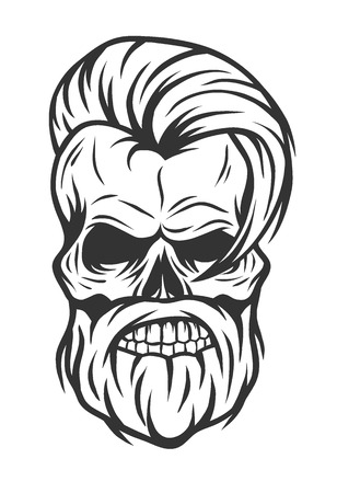 cartoon gangster: Charismatic skull hipster. Line art style Vector illustration.