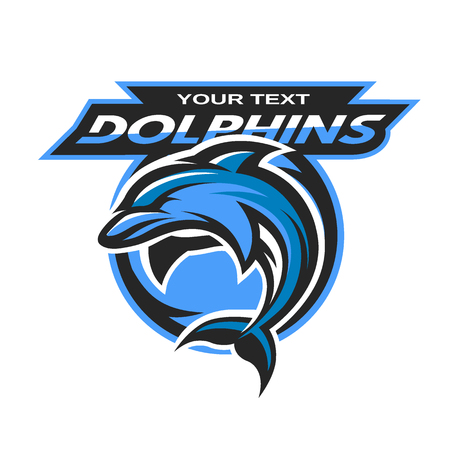 dolphin fish: Dolphin logo, emblem for a sport team. Vector illustration.