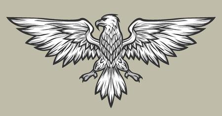 aguila americana: alas mascota Spread Eagle. Símbolo de la mascota de la ilustración del vector.