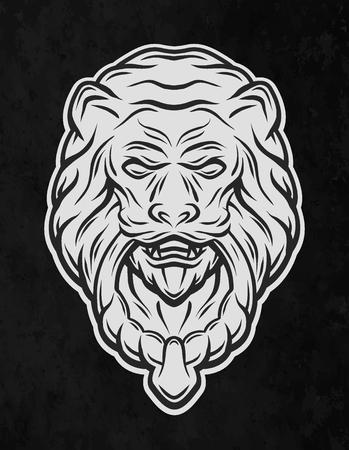 knocker: Lion head door knocker. On a dark background. Vector illustration. Illustration