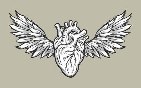 Anatomische Herz mit Flügeln. Tattoo, Zeichen Linie Kunst-Stil.