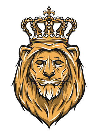 tattoo face: The head of a lion with a crown. Color version. Vector illustration. Illustration