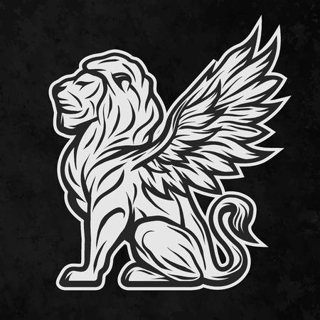leon con alas: león estatua mitológica con alas. Sobre un fondo oscuro.