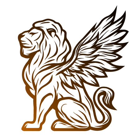 Mythological lion statue with wings. On a dark background. Vectores